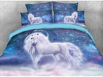 Onlwe 3D White Unicorn and Galaxy Printed Cotton 4-Piece Bedding Sets/Duvet Covers