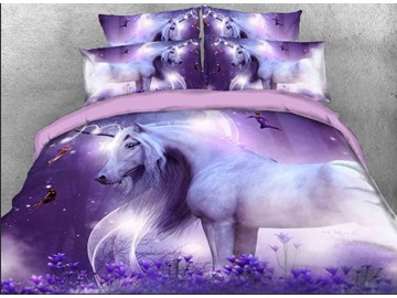 Purple Unicorn Non-deformation Non-fade 3D Printed 4-Piece Polyester Bedding Sets