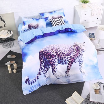 Onlwe 3D Leopard with Blue Sky and White Clouds Printed 4-Piece Bedding Sets
