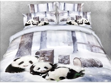 Onlwe 3D Panda Cub in Snow Printed Cotton 4-Piece Bedding Sets/Duvet Covers
