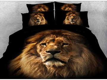 Lion Face Animal Printed Duvet Covers 3D 4-Piece Black Bedding Sets Colorfast Wear-resistant Endurable Skin-friendly All-Season Ultra-soft Microfiber No-fading