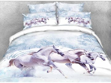 Onlwe 3D White Horse in Snow Printed Cotton 4-Piece Bedding Sets/Duvet Covers