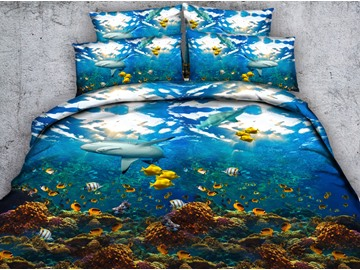 Shark and Colorful Fish Printed 4-Piece Blue 3D Bedding Sets / Duvet Cover Set