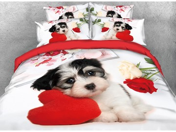 Onlwe 3D Puppy Dog with Heart-shaped Pillow Printed 4-Piece Bedding Sets/Duvet Covers