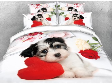 Puppy Dog with Heart-shaped Pillow Printed 4-Piece 3D Bedding Sets/Duvet Covers Polyester