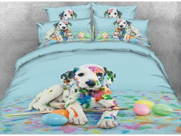 Colorful Dalmatian Dog Duvet Cover 3D Animal Print 4-Piece Bedding Set Polyester