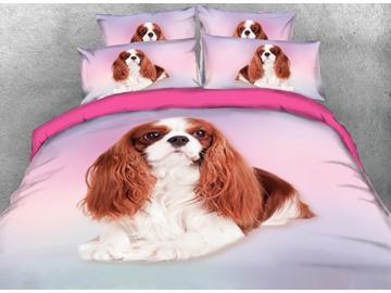 Cavalier King Charles Spaniel Dog Printed 3D 4-Piece Bedding Set Duvet Cover Set