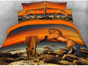 Onlwe 3D Brown Horse by the Sea 4-Piece Bedding Sets/Duvet Covers