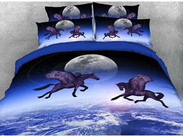 Onlwe Flying Horse and the Moon Printed 4-Piece Bedding Sets/Duvet Covers