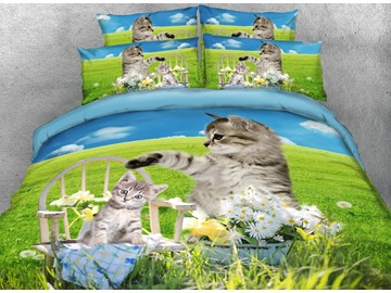 Onlwe 3D Cat and Kitten Printed 4-Piece Bedding Sets/Duvet Covers