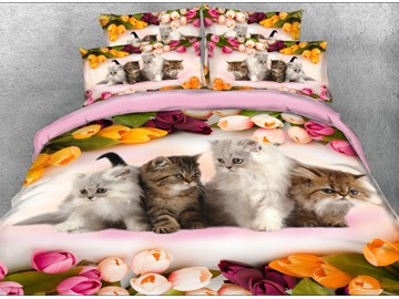 Onlwe 3D Kittens and Colorful Tulips Printed 4-Piece Bedding Sets/Duvet Covers