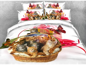 Onlwe 3D Kittens and Butterfly Printed 4-Piece White Bedding Sets/Duvet Covers