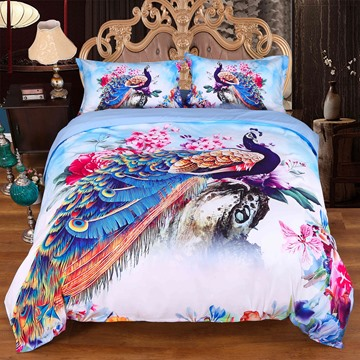 Onlwe 3D Peacock and Peony Watercolor Printed 4-Piece Bedding Sets/Duvet Covers