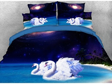 Onlwe 3D Swans Night Beach Galaxy Scenery Cotton 4-Piece Bedding Sets/Duvet Covers