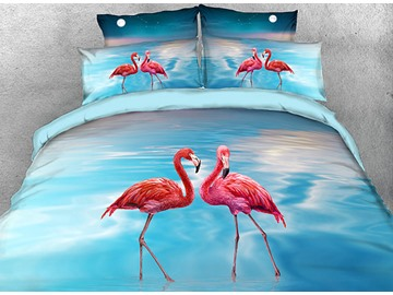 Onlwe 3D Flamingos Preen in Water Cotton 4-Piece Bedding Sets/Duvet Covers