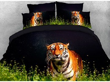 Vivilinen Tiger Walking in Grass Cotton 4-Piece 3D Black Bedding Sets/Duvet Covers