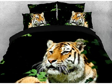Vivilinen 3D Staring Tiger in Grass Cotton 4-Piece Black Bedding Sets/Duvet Covers
