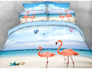 Onlwe 3D Pink Flamingo on the Beach Printed 4-Piece Bedding Sets/Duvet Covers