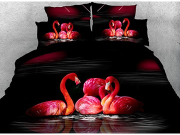 Onlwe 3D Flamingos Feeding and Swimming Cotton 4-Piece Bedding Sets/Duvet Covers
