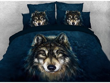Onlwe 3D Wolf Face Printed 4-Piece Bedding Sets/Duvet Covers