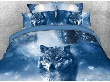 Onlwe 3D Wolf in the Forest Printed 4-Piece Bedding Sets/Duvet Covers