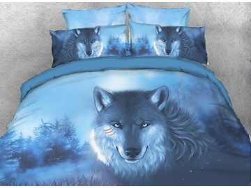 Wolf in the Forest Printed Blue 4-Piece 3D Bedding Sets/Duvet Covers