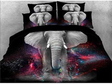 Elephant Galaxy Duvet Cover Set Animal Printed 4-Piece 3D Black Bedding Set