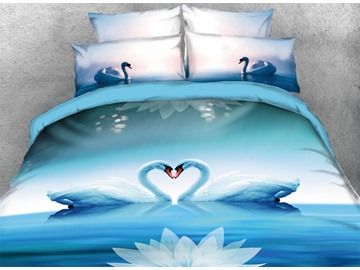 Onlwe 3D Swans Making Heart Shape and Lotus Romantic 4-Piece Bedding Sets