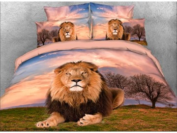 Onlwe 3D Lion Crouching in the Wild 4-Piece Bedding Sets/Duvet Covers