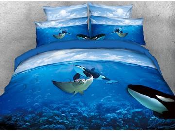 Onlwe 3D Manta Ray and Orcas in Ocean 4-Piece Bedding Sets/Duvet Covers