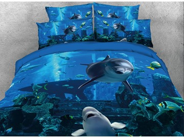 Onlwe 3D Dolphins Swimming in Blue Ocean Printed 4-Piece Bedding Sets/Duvet Covers