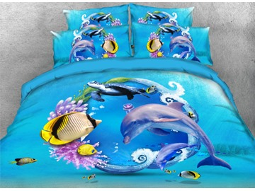 Onlwe 3D Dolphin Turtle and Tropical Fish Printed 4-Piece Bedding Sets/Duvet Covers