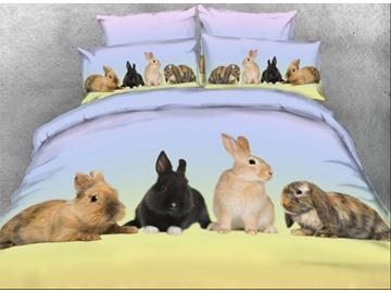 Rabbit Family Printed 4-Piece 3D Bedding Sets/Duvet Covers