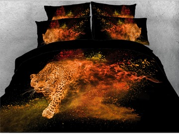 Onlwe 3D Leopard Walking through Fire Modern Style 4-Piece Bedding Sets/Duvet Covers