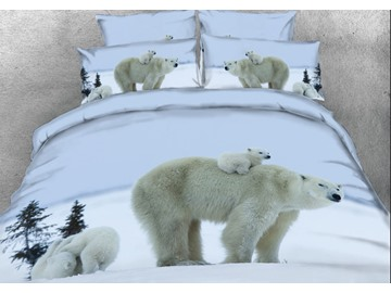 Onlwe 3D Polar Bear Mother Carries Cub Printed 4-Piece Bedding Sets/Duvet Covers