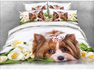 Onlwe 3D Yorkshire Terrier with Flowers Printed 4-Piece White Bedding Sets/Duvet Covers