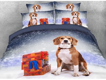 Onlwe 3D Cute Dog with Presents Snowy Christmas Night Printed 4-Piece Bedding Sets/Duvet Covers
