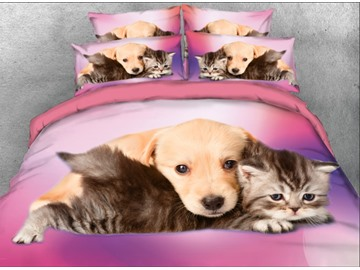 Onlwe 3D Puppy and Cat Good Friends Printed 4-Piece Bedding Sets/Duvet Covers