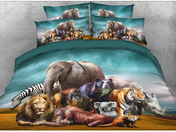 Natural African Safari Animals Printed 3D 4-Piece Bedding Sets/Duvet Covers Polyester