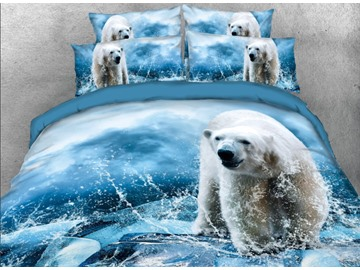 Vivilinen 3D Polar Bear with Water Printed 4-Piece Blue Bedding Sets/Duvet Covers