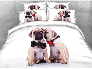Onlwe 3D Couple Shar Pei with Tie Printed 4-Piece White Bedding Sets/Duvet Covers