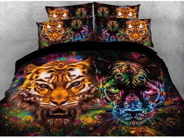 Onlwe 3D Tiger and Panther Face Printed 4-Piece Animal Bedding Sets/Duvet Covers