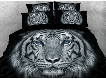 Classic Tiger with Blue Eyes 4-Piece Black 3D Animal Print Bedding Set Durable No-fading Zipper Duvet Covers