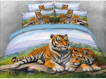 Onlwe 3D Snuggling Tigers Printed 4-Piece Animal Bedding Sets/Duvet Covers