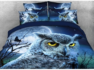 Owl Face with Full Moon Printed 4-Piece 3D Bedding Set / Duvet Cover Set