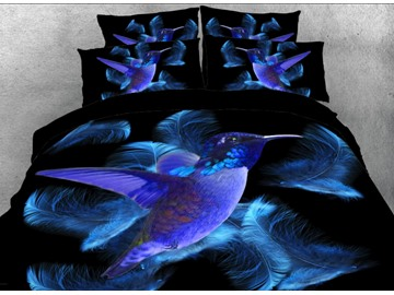 Onlwe Blue Hummingbird and Feathers Printed 3D 4-Piece Bedding Sets/Duvet Covers