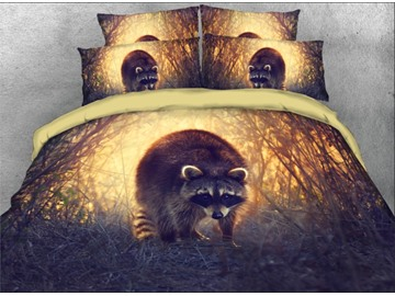 Onlwe 3D Adorable Raccoon Jungle Printed 4-Piece Bedding Sets/Duvet Covers