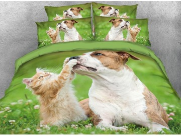 Vivilinen Friendly Puppy and Cat Printed 4-Piece 3D Green Bedding Sets/Duvet Covers