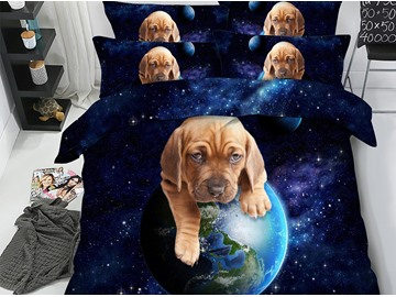 Adorable Dog Rolls the Earth Printed 3D 4-Piece Bedding Sets/Duvet Covers