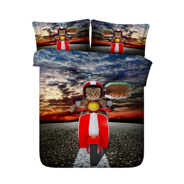 3D Cool Cat Ride the Electromobile Printed 4-Piece Bedding Sets/Duvet Covers